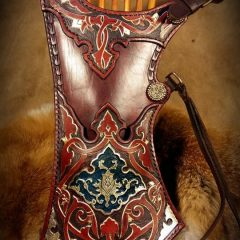 Gazdagon díszített,festett,aranyozott török tegez
